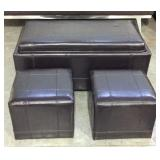 3 Pc Ottoman Set With Convertible Table Top
