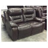 Pull recline leather loveseat