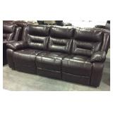 Leather dual pull recline sofa