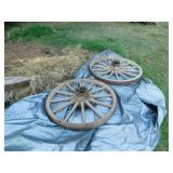 old wagon wheels and frame