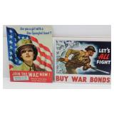 (2) Tin Signs--BUY WAR BONDS & jOIN THE WAC NOW!