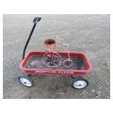 Red Radio Flyer Wagon & Decor Bike