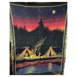 Bob Timberlake Cowboys Camp Fire  Tapestry Woven