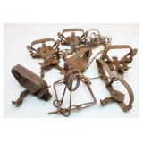 Assortment of Metal Animal Traps-Most w/ V Mark