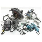 Assortment elec hand tools: Drills, Scroller & Saw