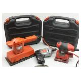 Electric Hand Tools: 3 drills 2 w/cases, 2 Sanders