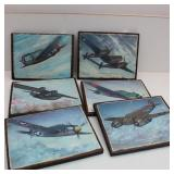 (6) Prints of Vintage War Planes On Wood Boards