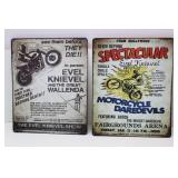 2 metal Evel Knievel advertisement signs