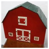 Hand Crafted Wood Red Toy Barn with Hay Loft