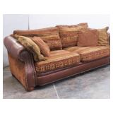 BROYHILL Leather w Western Pillow Back Design Sofa