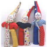 (3) Soft Body Clown Dolls w/ Celluloid Faces