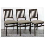 (3) Mission Style Folding Wood Chairs w/ Cushioned