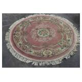 Round Fringed Floral Area Rug