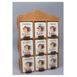 Vintage Rooster Spice Rack 9 Jar Set-Ceramic Jars
