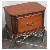Contemporary Side Table w/Wrought Iron Legs &