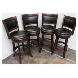 (4) Dark Walnut Finish Wood Swivel Barstools with