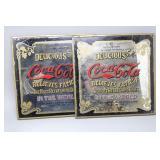 (2) Vintage Coca-Cola Mirrored Advertising Signs