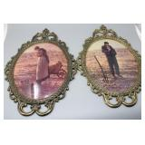 Pair of Oval Bubble Glass Harvest Prints