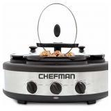 CHEFMAN - 4.5-Quart Triple Slow Cooker - Stainless