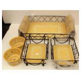 Beautiful Tile Bottom Serving Baskets  & Relish