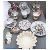Bargain Lot:  Bone China Cups & Saucers w/Holders