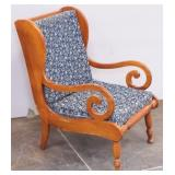 Wood Wingback Accent Chair w Curled Wood Arms