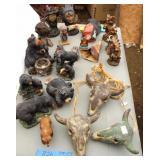 Bear Figurines & Cow Skulls Decor
