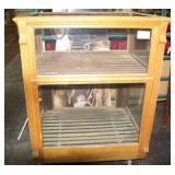 Antique Oak General Store Glass Show Case Cabinet