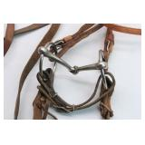 Studded Leather Headstall, Bit & Reins