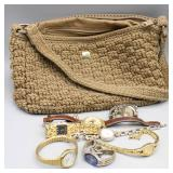 LINA Crocheted Hand Bag & (7) Ladies Watches