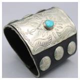 Leather Cuff Bracelet w Turquoise Stone & Conchos