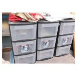 3 Storage Organizers with Fishing Supplies