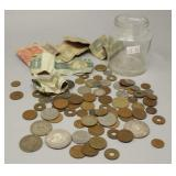 Jar of Foreign Money: 2 Silver Pesos, British,