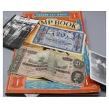 Vintage World Stamp Book & Paper Money