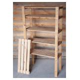 """Six Slat Wood Shelf Unit 31""""W X 59""""T x 13"""" D"""