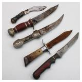 Collection of (5) Hunting Knives