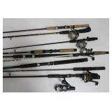 (9) Fishing Rods and (5) Reels in Bucket