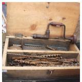 Wood Box With Vintage Brace & Bits