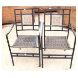 Pair of Metal Tile-back Patio Chairs