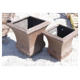 (2)Square Light-Weight Outdoor Flower Pots