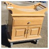 Wood 2-Drawer Rolling Storage Chest w/Locking