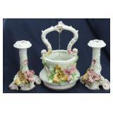 Capodimonte Porcelain Wishing Well & Candlesticks