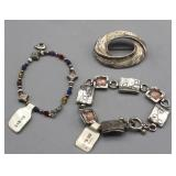Sterling Bracelets & Broach (all .925 Sterling)