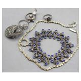 Costume Jewelry 3 Rings, Necklaces, Broach