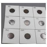 9 Indian Head Pennies 1892, 1901, 02, 03, 04