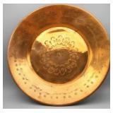"""Etched Wall Hanging Copper Plate 13.5"""""""
