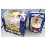 Set of 2 M & M Dispensers-Snowball Ornament &