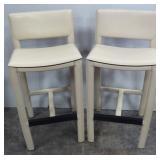 Pair of Maria Yee Inc Cream Vinyl Bar Stool Chairs