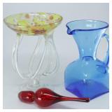 Art Glass Candle Holder, Blue Blenko(?) Pitcher &