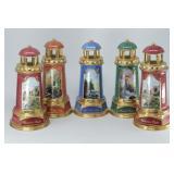 (5) Thomas Kinkade 2004 Porcelain Lighthouse Lamps